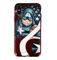 Coque Luxe iPhone X Marvel Capitain America - Rouge