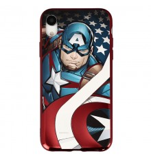 Coque Luxe iPhone Xr Marvel Capitain America - Rouge
