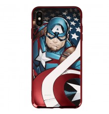 Coque Luxe iPhone XS Max Marvel Capitain America - Rouge