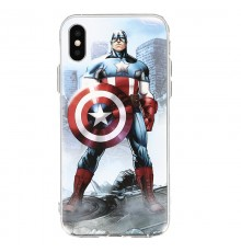 Coque iPhone X Marvel Capitain America - Bleu